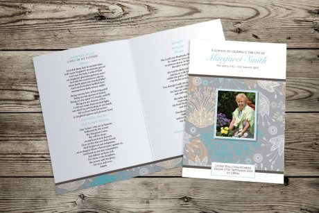 Bright Flowers (Neutral) Funeral Order of Service design by Fitting Farewell