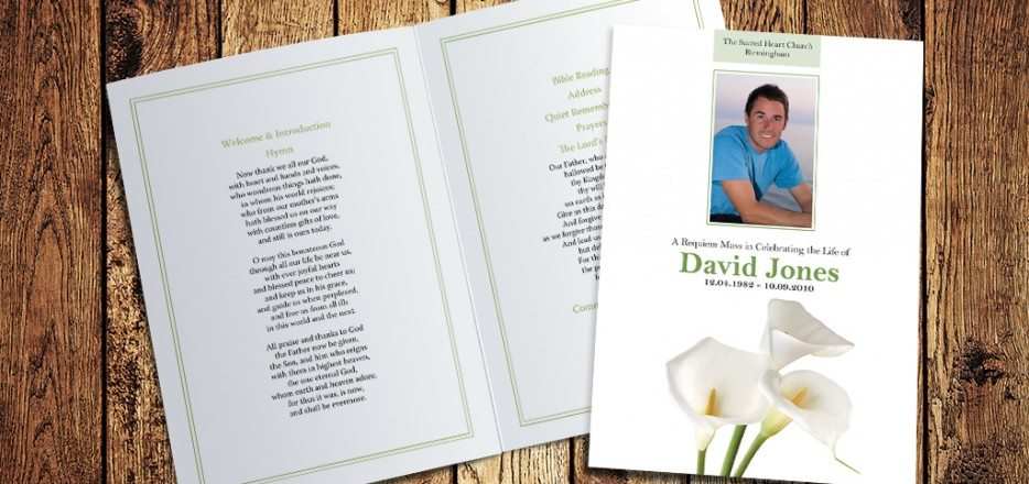 Cala Lilies Funeral Order of Service design by Fitting Farewell
