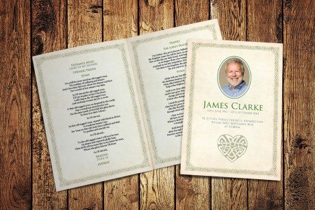 Celtic Border Funeral Order of Service design by Fitting Farewell