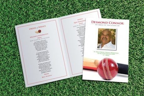 Cricket Funeral Order of Service design by Fitting Farewell