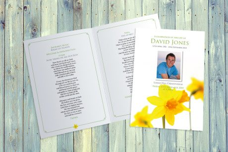 Daffodils Funeral Order of Service design by Fitting Farewell