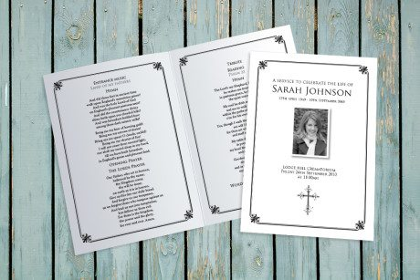 Decorative Border Funeral Order of Service design by Fitting Farewell