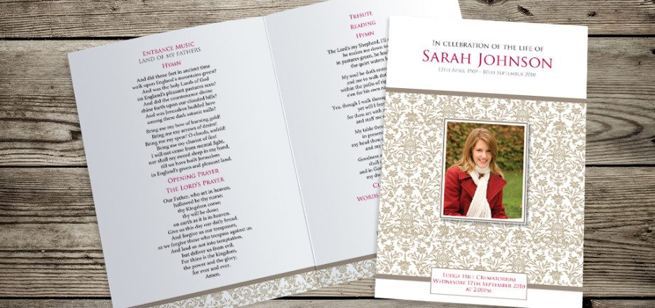 Elegance Funeral Order of Service design by Fitting Farewell