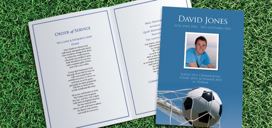 Football Funeral Order of Service design by Fitting Farewell
