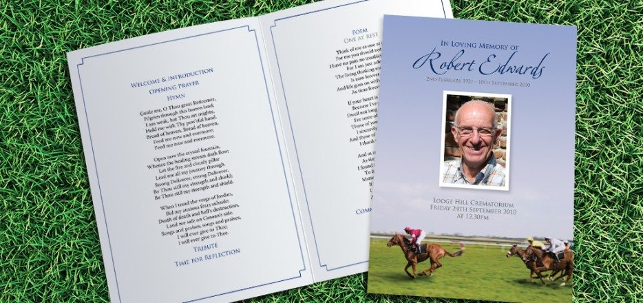 Horseracing Funeral Order of Service design by Fitting Farewell