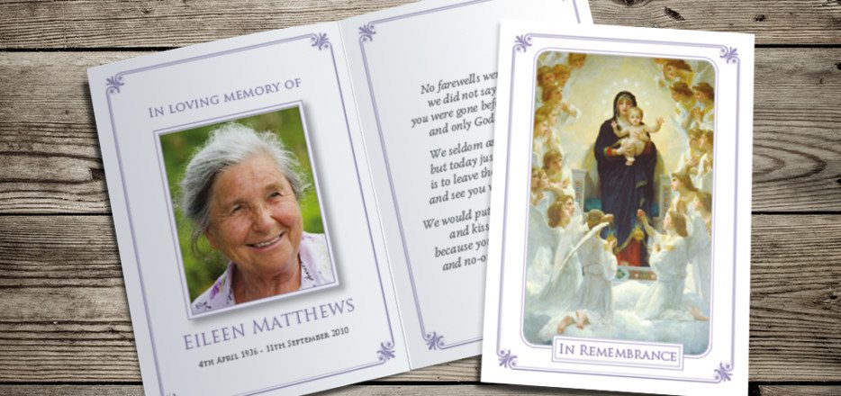 Mary & Child Memorial Card Design by Fitting Farewell