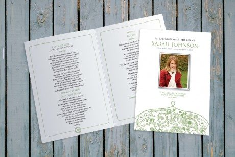 Modern Paisley Funeral Order of Service design by Fitting Farewell