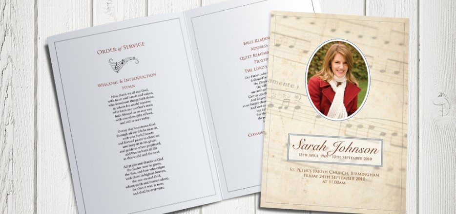 Music Funeral Order of Service design by Fitting Farewell
