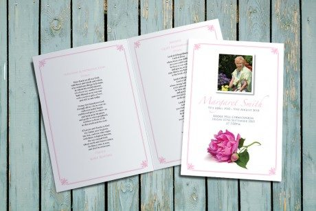 Peony Funeral Order of Service design by Fitting Farewell