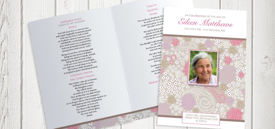 Pink Garden Funeral Order of Service design by Fitting Farewell