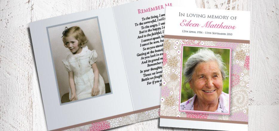Pink Garden Memorial Card Design by Fitting Farewell