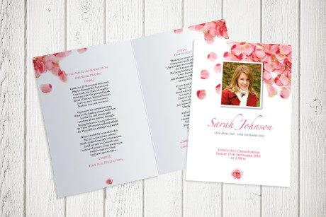 Pink Petals Funeral Order of Service design by Fitting Farewell
