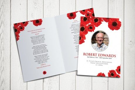 Poppies Funeral Order of Service design by Fitting Farewell