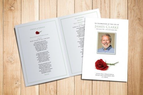 Red Rose Funeral Order of Service design by Fitting Farewell