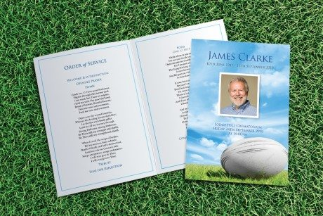 Rugby Funeral Order of Service design by Fitting Farewell