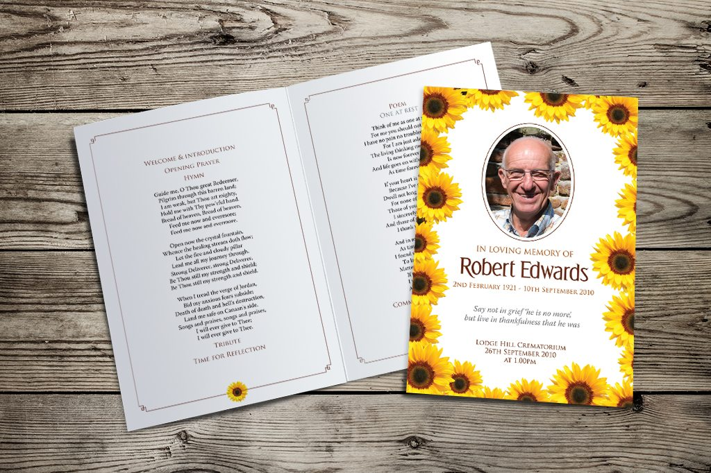 sunflowers funeral order of service