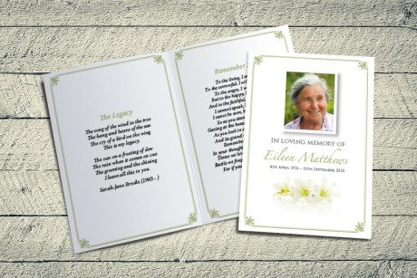 Three Lilies Memorial Card Design by Fitting Farewell