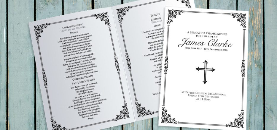 Victorian Border Funeral Order of Service design by Fitting Farewell