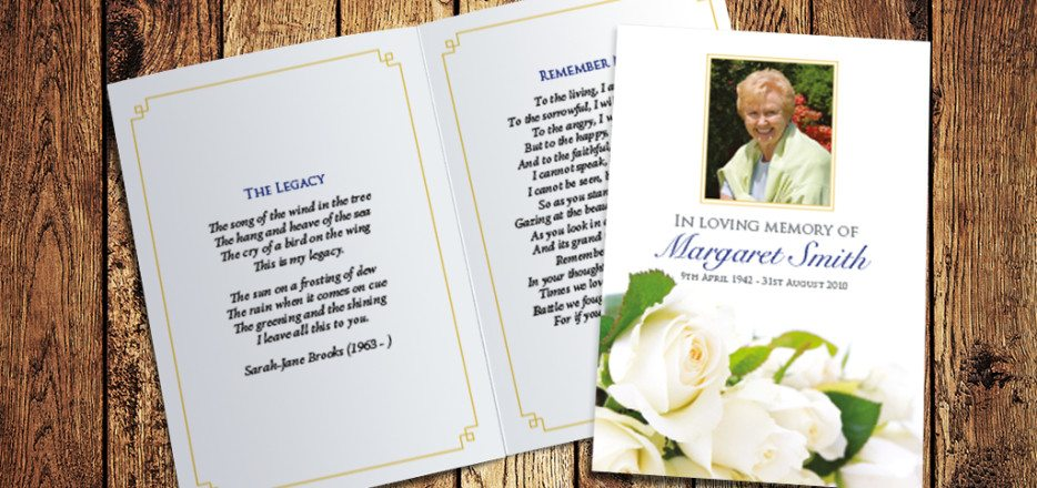 White Roses Memorial Card Design by Fitting Farewell