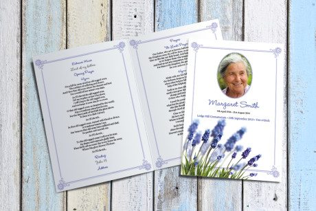 Grape Hyacinth Funeral Order of Service by Fitting Farewell