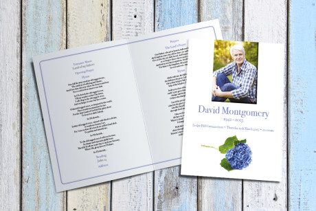 Hydrangea Funeral Order of Service by Fitting Farewell