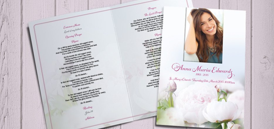 Pale Pink Peonies Funeral Order of Service by Fitting Farewell