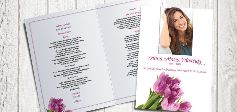 Pink Tulips Funeral Order of Service by Fitting Farewell