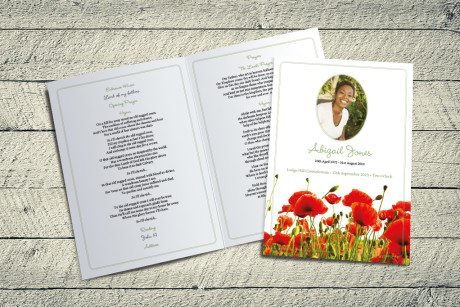 Poppy Meadow Funeral Order of Service by Fitting Farewell