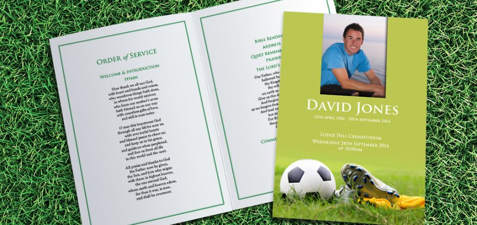 Football Boots Funeral Order of Service