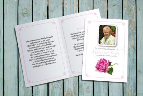 Pink Peony Memorial Card