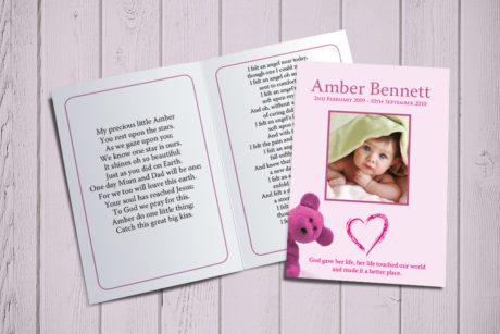 Pink Teddy Memorial Card