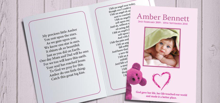 Pink Teddy Memorial Card