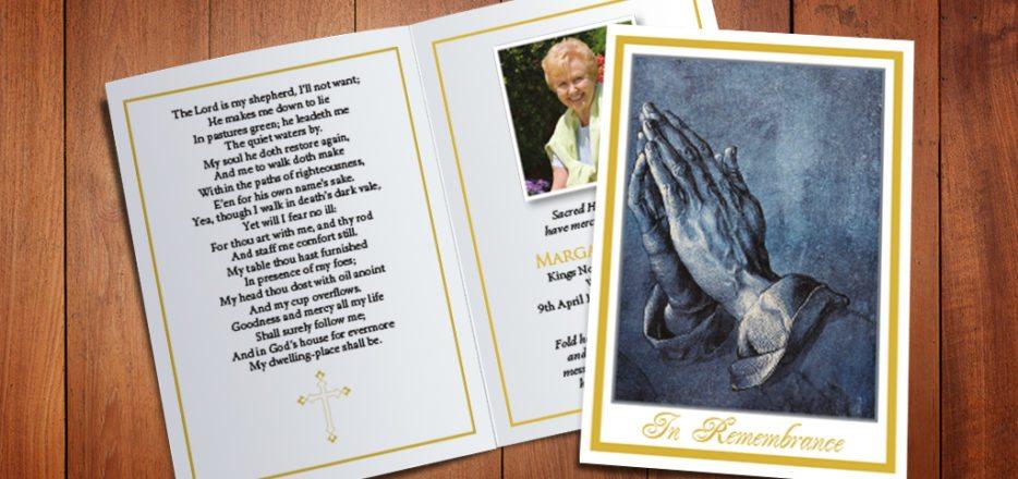 Praying Hands Memorial Card