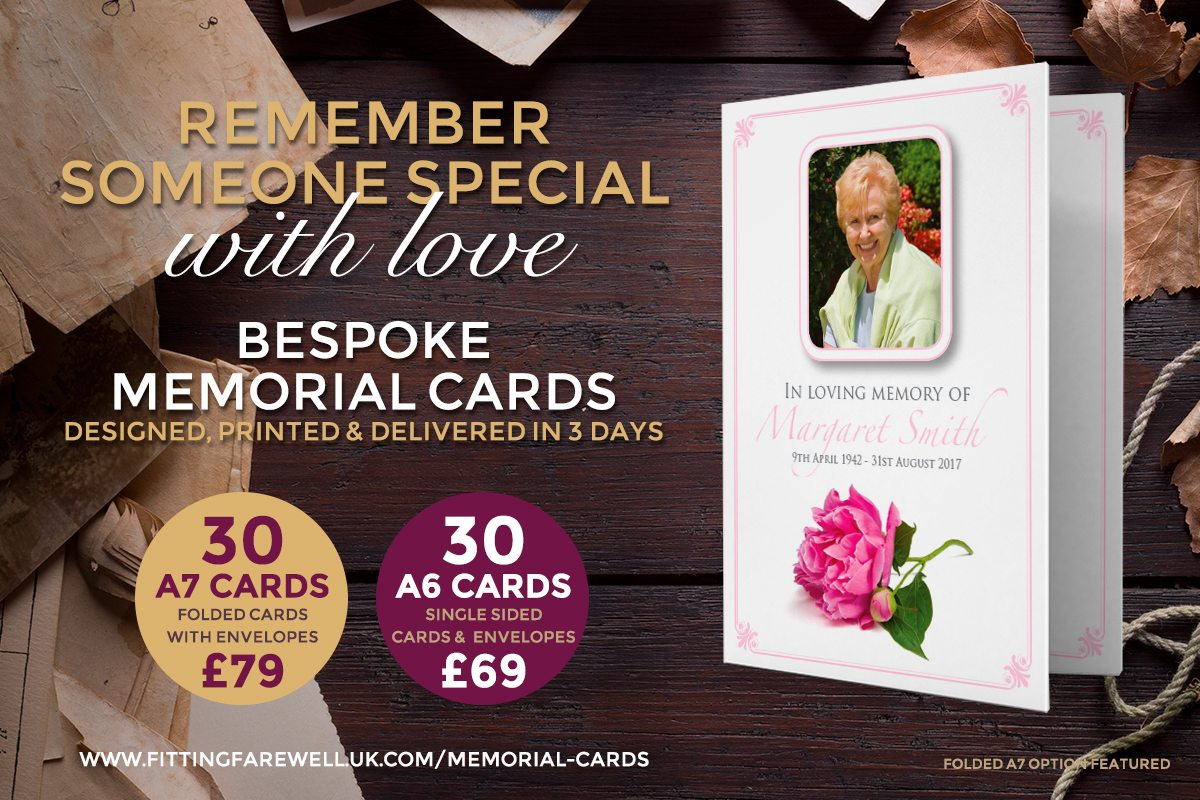 Memorial Cards from Funeral Printing specialist, Fitting Farewell